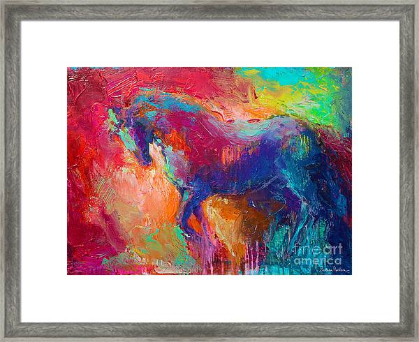 Contemporary Vibrant Horse Painting Framed Print