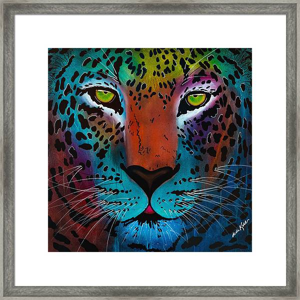Content Leopard Framed Print