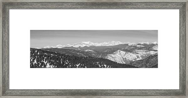 Continental Divide Rocky Mountain Snowy Peaks Panorama Bw Pt1 Framed Print