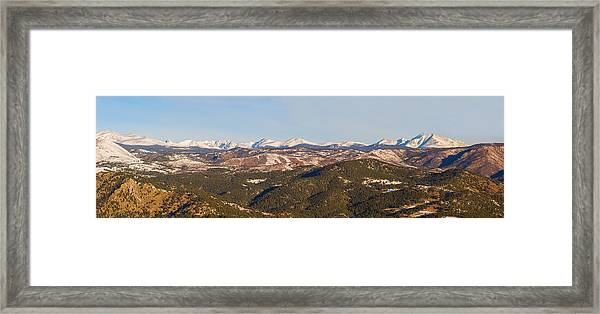 Continental Divide Rocky Mountain Snowy Peaks Panorama Framed Print