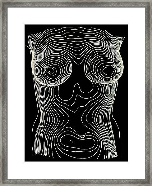 Contour Map Of Female Chest & Abdomen Framed Print