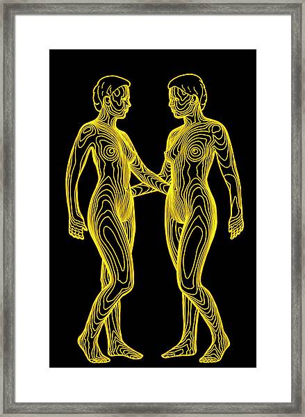 Contour Map Of Identical Female Twins Face To Face Framed Print by Dr Robin Williams/science Photo Library