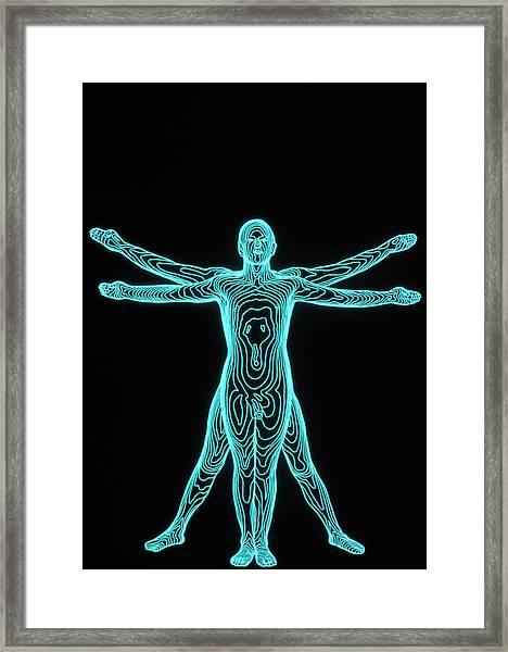 Contour Map Of Man Framed Print