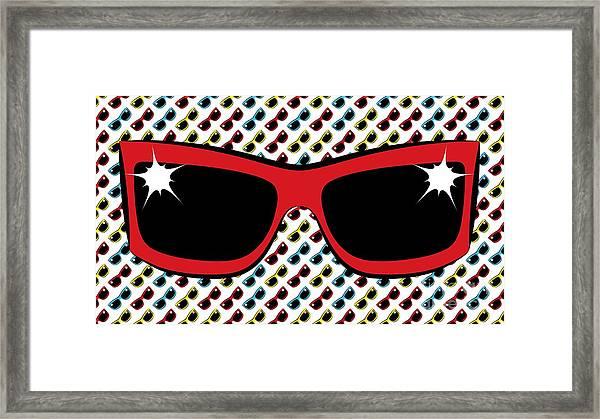 Cool 90's Sunglasses Red Framed Print