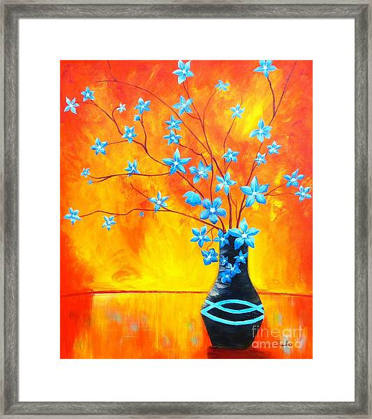 Cool Blue On Fire Framed Print