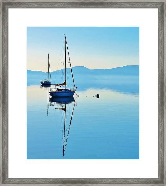 Cool Blue Tahoe Sail Framed Print