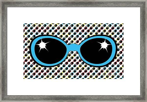Cool Retro Blue Sunglasses Framed Print