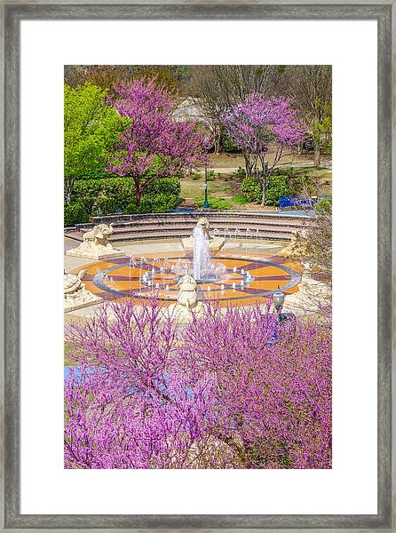 Coolidge Park Fountain In Spring Framed Print