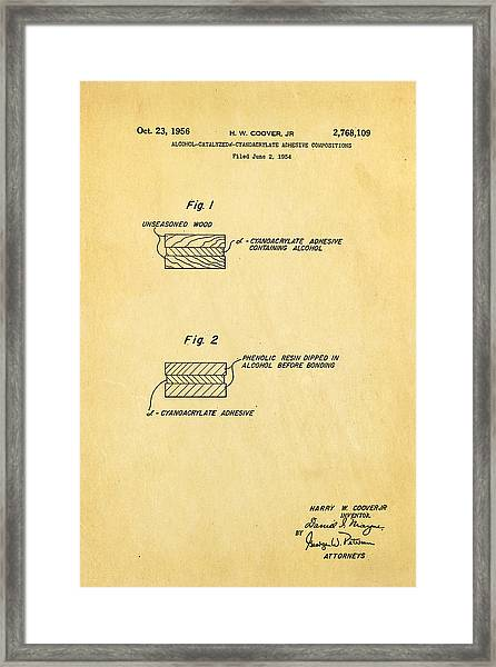 Coover Superglue Patent Art 1956 Framed Print by Ian Monk