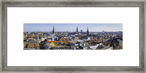 Copenhagen Spires And Rooftops Panorama Over Central Cityscape Denmark Framed Print by fotoVoyager