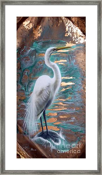 Copper Egret Framed Print