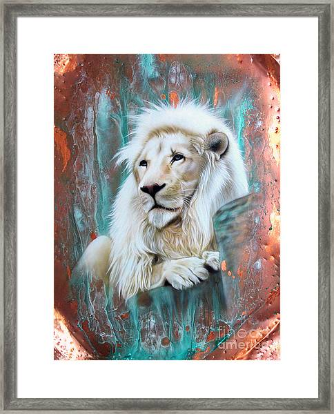 Copper White Lion Framed Print