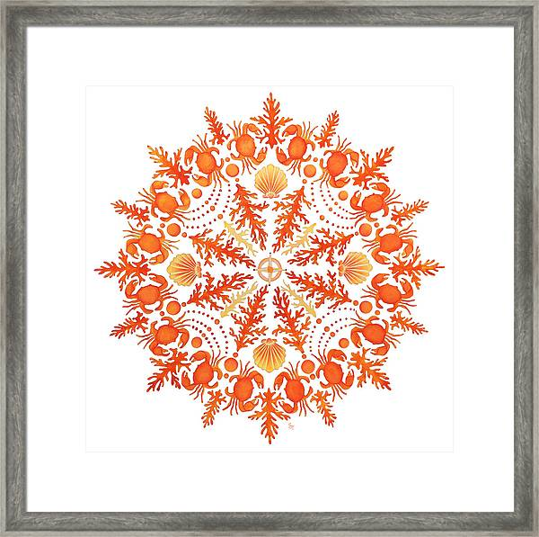 Coral Crab Mandala Framed Print