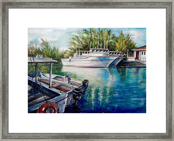 Framed Print featuring the painting Coral Harbour 3 by Katerina Kovatcheva