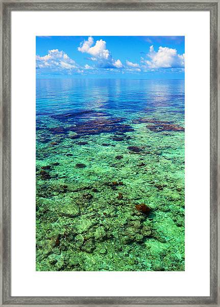 Coral Reef Near The Island At Peaceful Day. Maldives Framed Print
