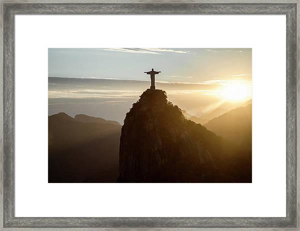 Corcovado At Sunset, Rio De Janeiro Framed Print