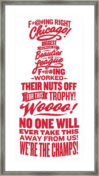 Corey Crawford Cup Speech Framed Print by The Heckler