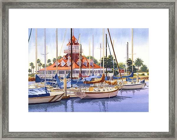 Coronado Boathouse Framed Print