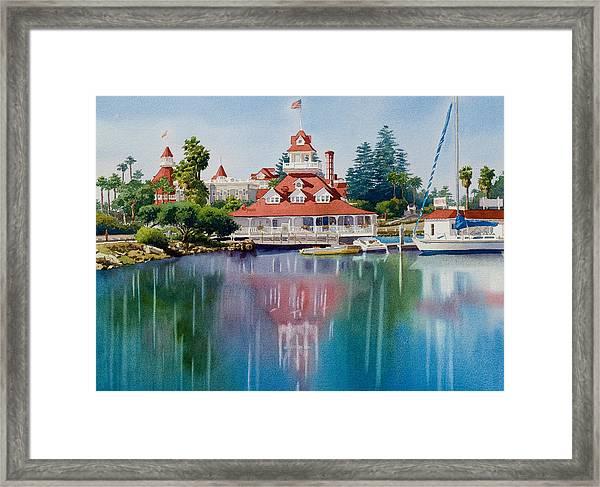 Coronado Boathouse Reflected Framed Print