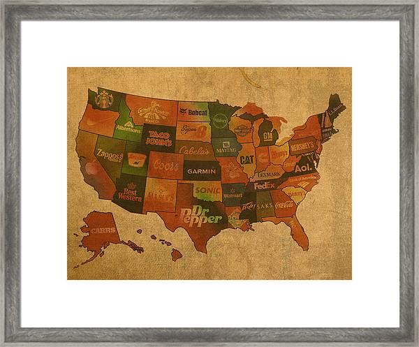 Corporate America Map Framed Print