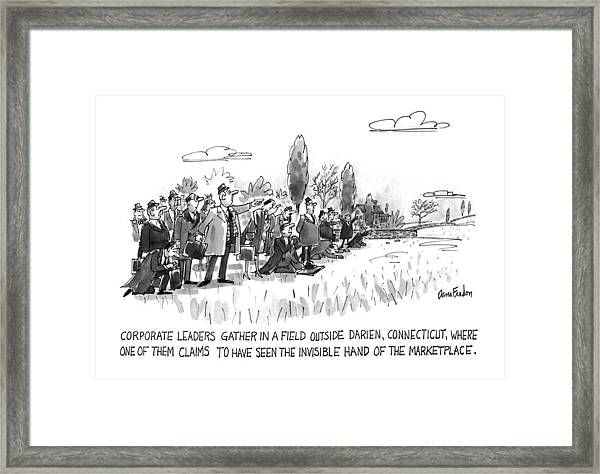 Corporate Leaders Gather In A Field Framed Print