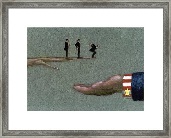 Corporate Welfare Framed Print by Tim Teebken