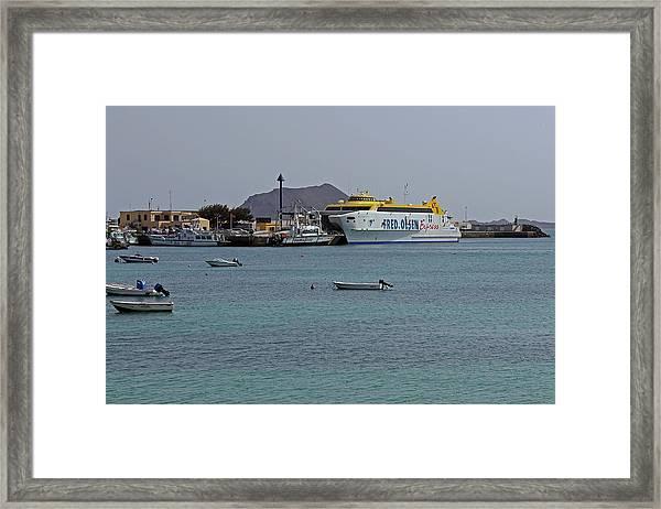 Corralejo Harbour Framed Print