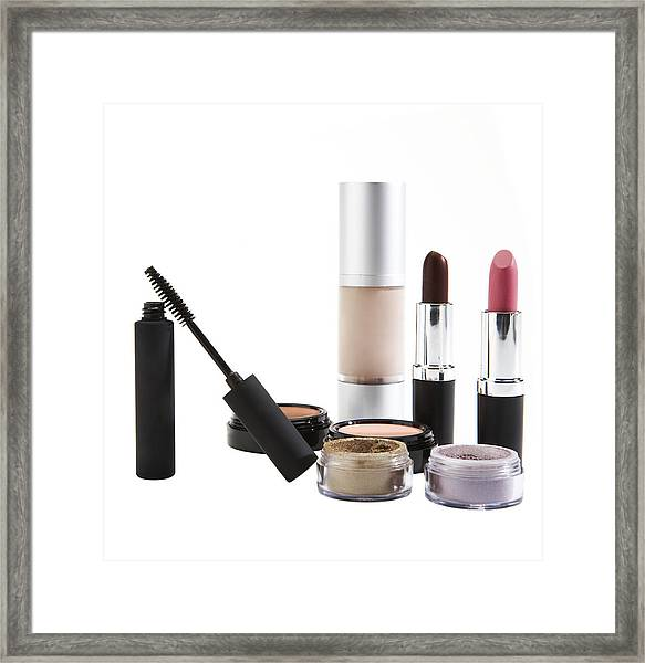 Cosmetics On White Background Framed Print by Thomas Northcut