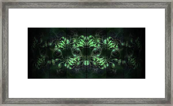 Cosmic Alien Eyes Green Framed Print