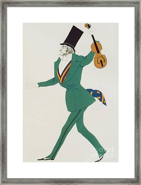 Costume Design For Paganini In The Enchanted Night Framed Print