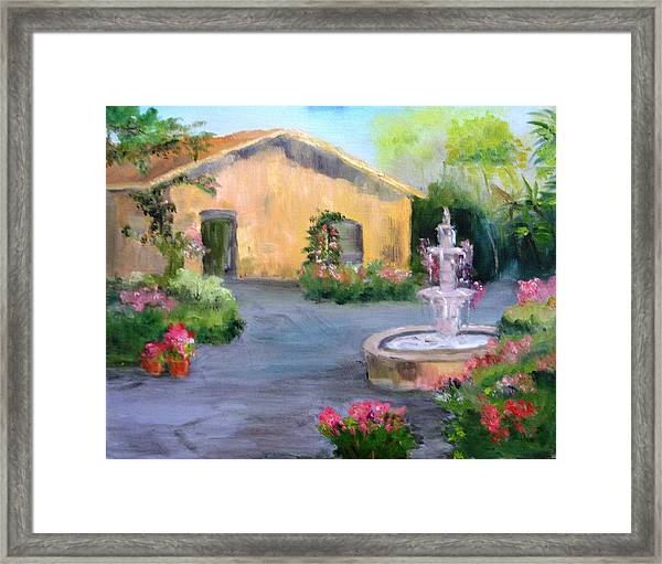 Cottage Courtyard Framed Print