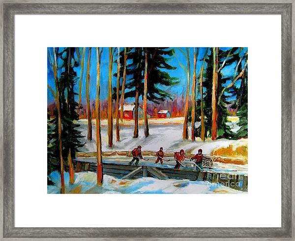 Country Hockey Rink Framed Print