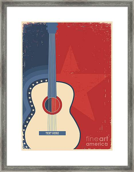 Country Music Poster With Guitar On Old Framed Print