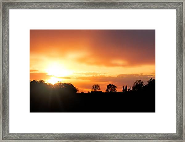 Country Sunset Silhouette Framed Print