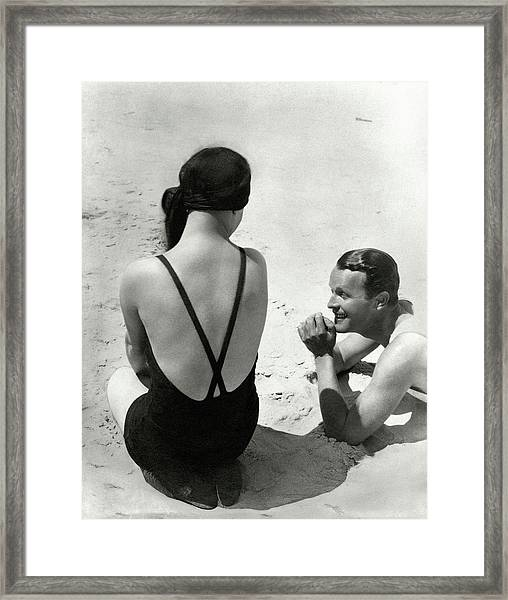 Couple On A Beach Framed Print