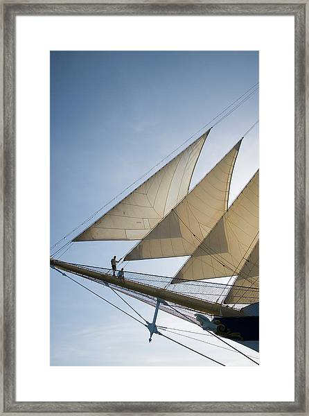 Couple On Bowsprit Of Royal Clipper Framed Print