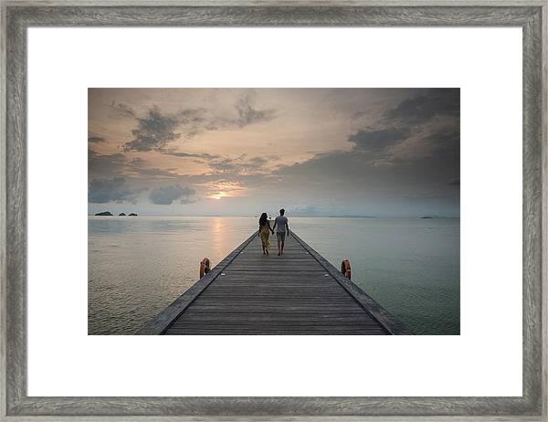 Couple On Pier, Taling Ngam Beach, Ko Framed Print
