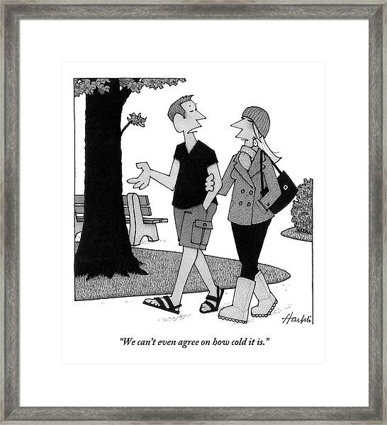 Couple Taking Walk Framed Print