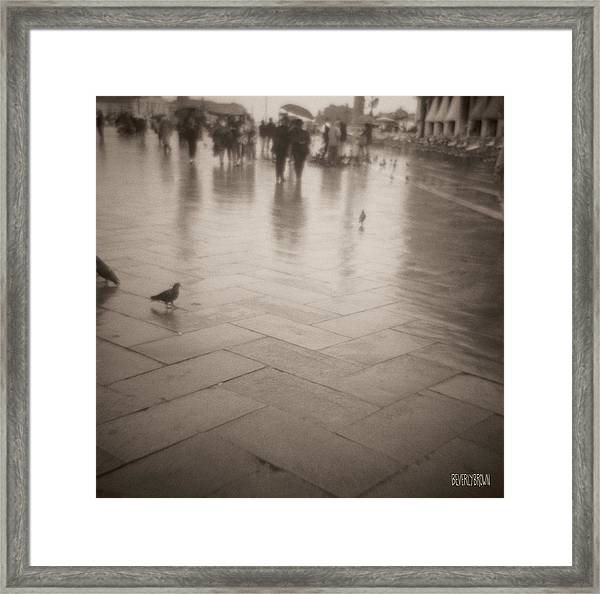 Couple Walking In The Rain San Marco Framed Print