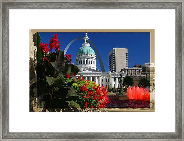 Courthouse Arch Skyline Fountain Framed Print
