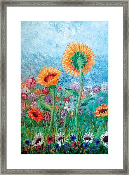 Courting Sunflowers Framed Print