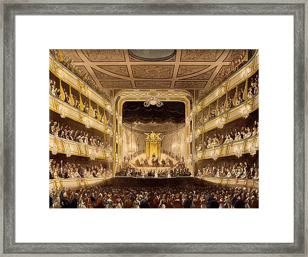 Covent Garden Theatre, From Microcosm Framed Print