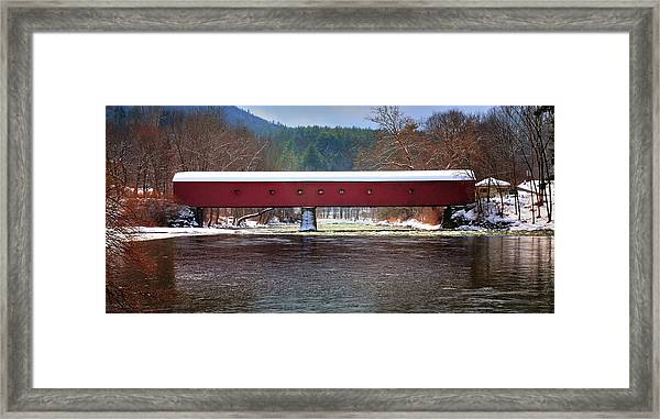 Covered Bridge Of West Cornwall-winter Panorama Framed Print