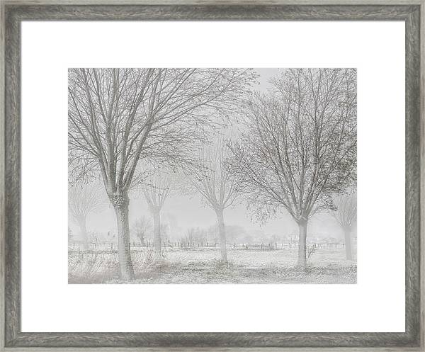 Covered With A White Quilt Framed Print