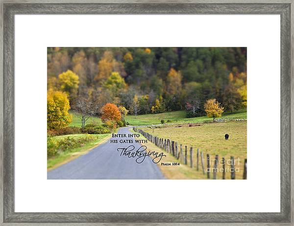 Cow Pasture With Scripture Framed Print