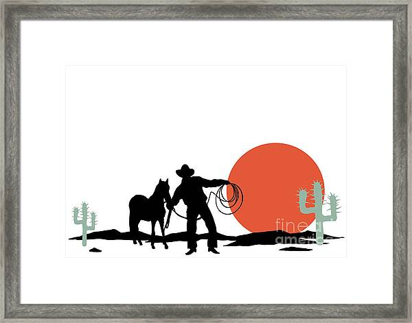 Cowboy And Hors Silhouettes Framed Print