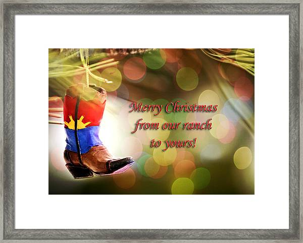 Cowboy Boot Christmas Framed Print