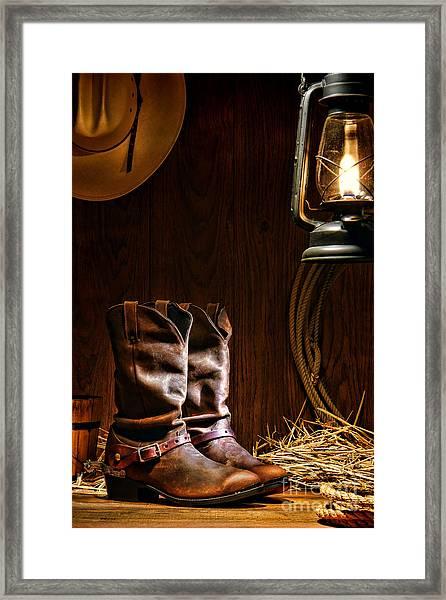 Cowboy Boots At The Ranch Framed Print