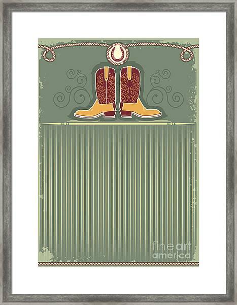 Cowboy Boots.vintage Western Decor Framed Print