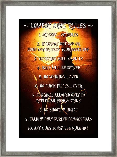 Cowboy Cave Rules By Lincoln Rogers Framed Print